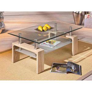 TABLE BASSE Table basse couleur chêne clair et verre contempor