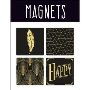 AIMANTS - MAGNETS EMOTION Lot de 4 magnets style Precious Black - No