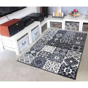 TAPIS Tapis salon PATCHWORK carreaux ciment gris DEBONSO