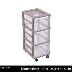 PETIT MEUBLE RANGEMENT  COLONNE PLASTIQUE 3 TIROIRS BOX CASIER DE RANGEMEN