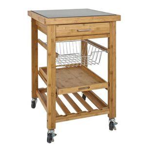 TABLE DE CUISINE  Table de cuisine roulante coloris nature-granit no