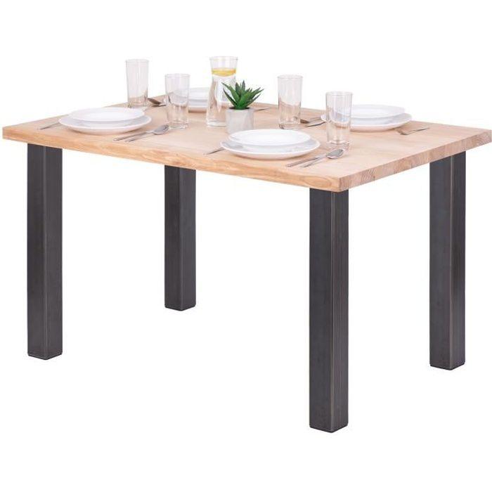 LAMO MANUFAKTUR Table à manger industrielle en bois massif - 120x80x76cm - frêne sévère - pieds acier brut - modèle classic