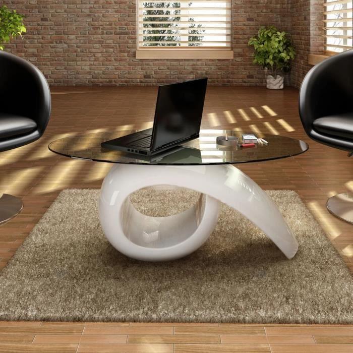 BOI® Table basse avec dessus de table en verre ovale Blanc brillant