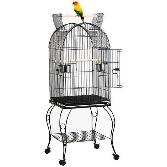TOR Cage à Oiseau avec Toit Ouvert Volière sur roulettes pour Canaries Perroquet Perruches et Calopsitte 59 x 59 x 150 cm Noir
