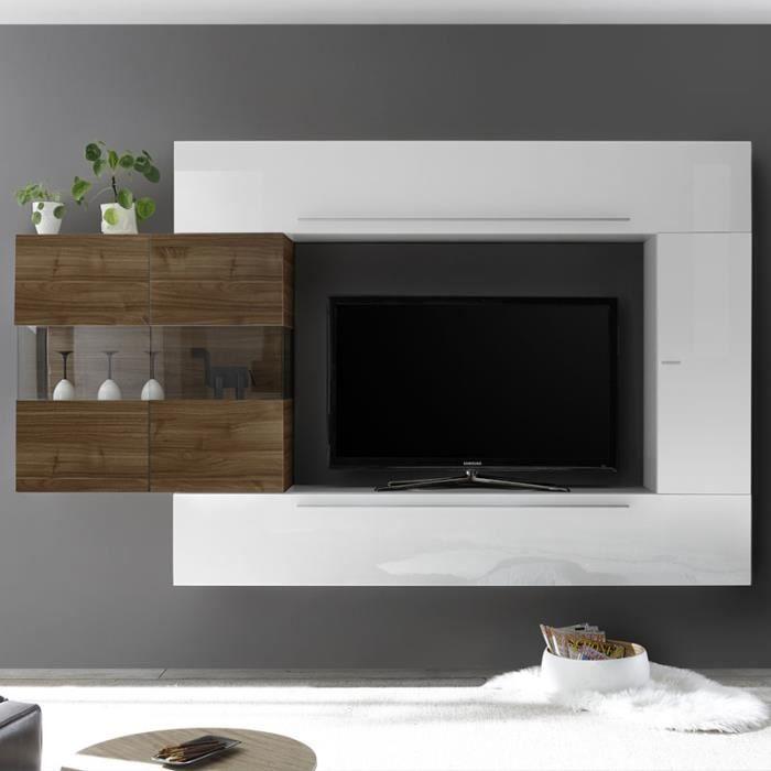 Grand meuble TV blanc et couleur bois foncé SALEMI Blanc L 260 x P 35 x H 200 cm