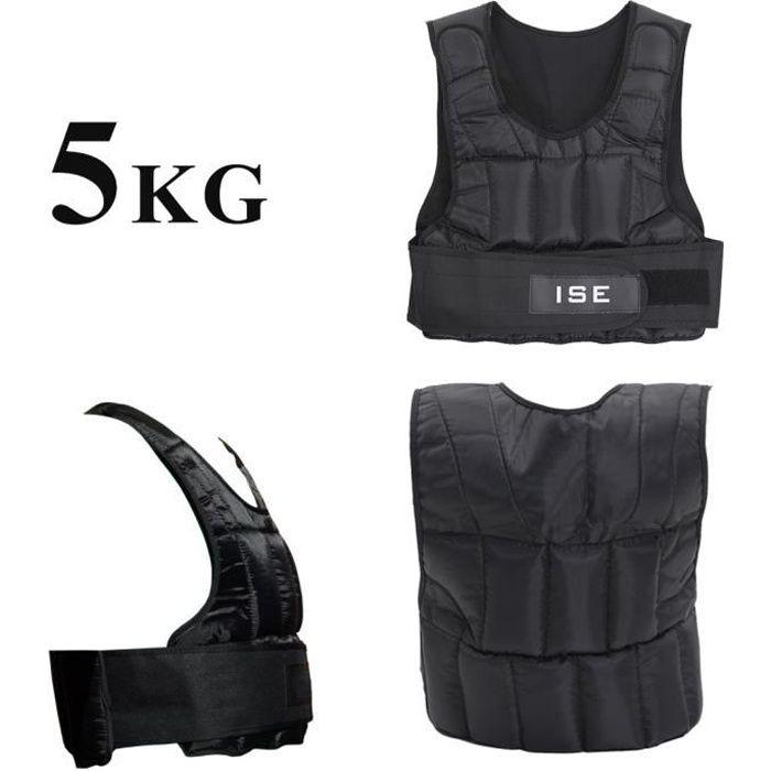 ISE Gilet lesté réglable de 5kg Poids gilets pour Poids Entrainement Musculation ExerciceSY-3002-1