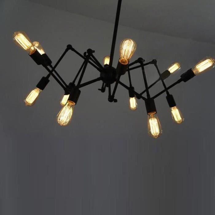 HL421 103 12 tête industriel de lampe réglable araignée lustre pendentif vintage E27