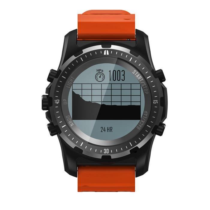 Orange Appareil portable S966 GPS montre intelligente étanche fréquence cardiaque altimètre température boussole multi-sport hommes