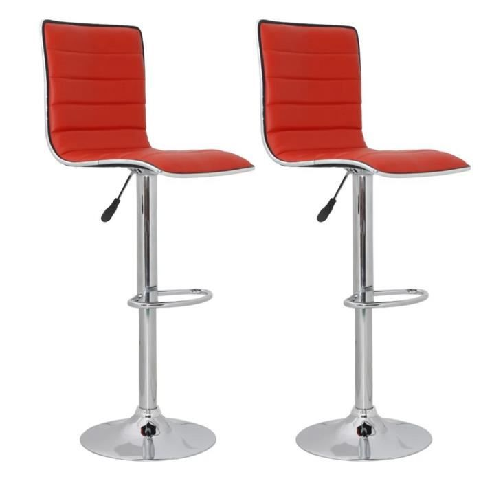 KING'1998Scandinave-Lot de 2 Tabouret de Bar Design Industriel - Tabouret Cuisine Tabouret Haut Chaise de Bar Rouge Similicuir
