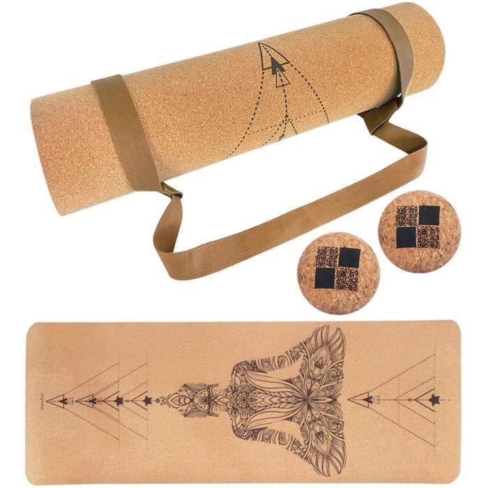 tapis MENKAI-Tapis de Yoga en Bois de Li&egravege,Tapis Sport Portable, Tapis de Sport &Eacutecologique Mat&eacuteriaux, Recy166