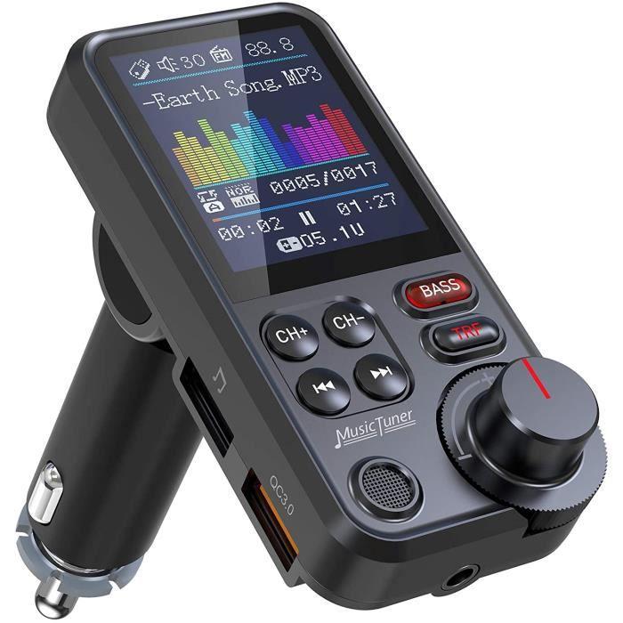 Nulaxy Transmetteur FM Bluetooth, Adaptateur autoradio Bluetooth avec Microphone Puissant avec écran Couleur de 1,8-, Prend en Charg