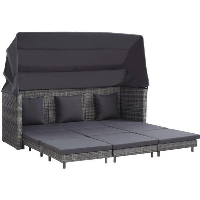 Canapé relax - Canapé-lit Banquette Clic-Clac - Divan - Sofa - extensible 3 places avec toit Résine tressée Gris FLO9209