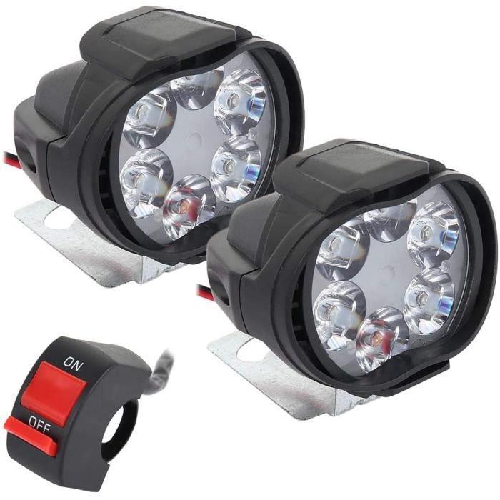 2 pcs Feux Additionnels Moto Led Etanche Universel 6 LED Phare de Moto Conduite Antibrouillard Lampe Projecteur Scooter Proje[4133]