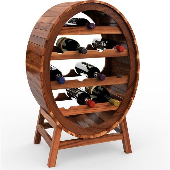 Casier étagère à vin Porte-bouteilles en bois d'acacia pour max 12 bouteilles look baril tonneau
