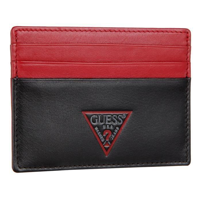 GUESS Porte carte Homme Noir/Rouge