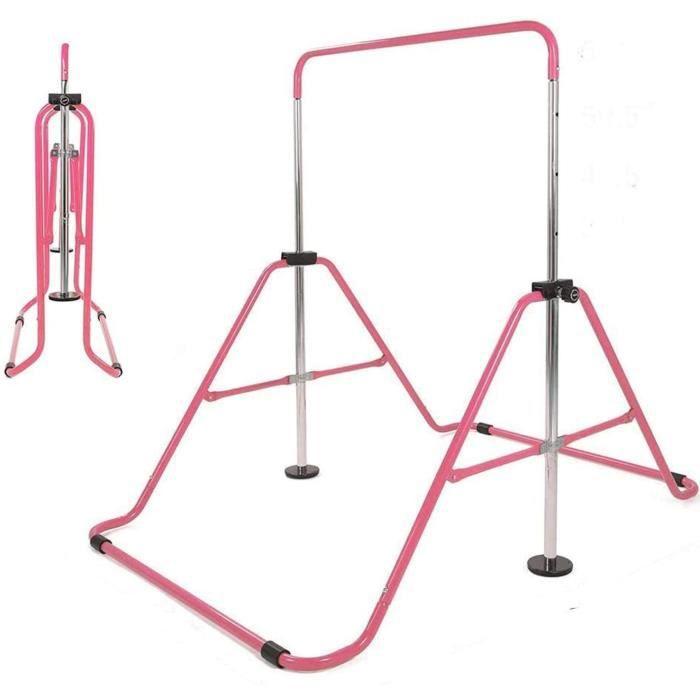 KirinSport Barre de gymnastique pour enfants Équipement d'entraînement Sportif Gymnastique Barre Pliant Rose