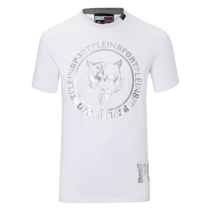 PLEIN SPORT Tshirt - White - For Men - édition -Ivan- - Référence : MTK1843SJY001N0170