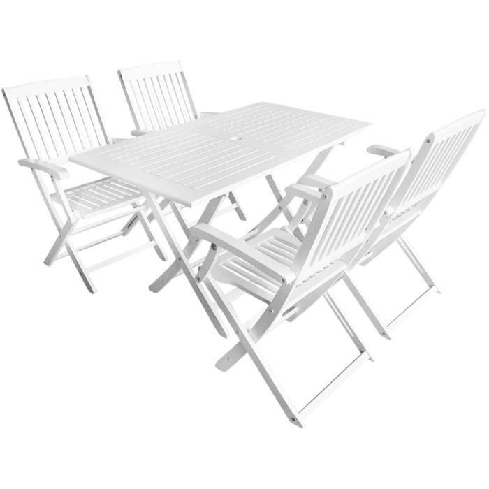 Luxueux Magnifique Moderne-Ensemble de salle à manger d'extérieur 5pcs Bois d'acacia Blanc