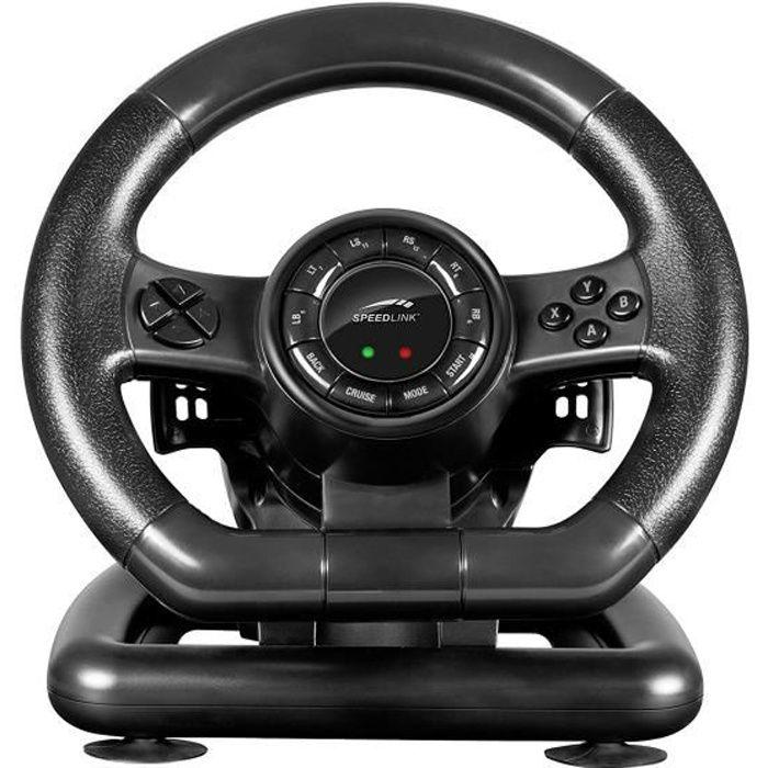Speedlink Black BOLT Racing Wheel - Volant de Gaming pour PC (Xinput et DirectInput, Vibration, 12 Boutons et 2 Hotkeys) Noi: