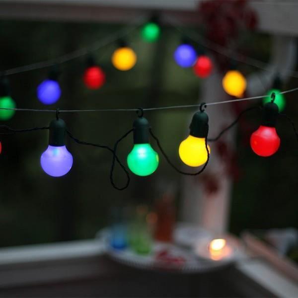 PARTY LIGHT - Guirlande d'extérieur LED 20 Lumières Multicolore à crochet L10,7m