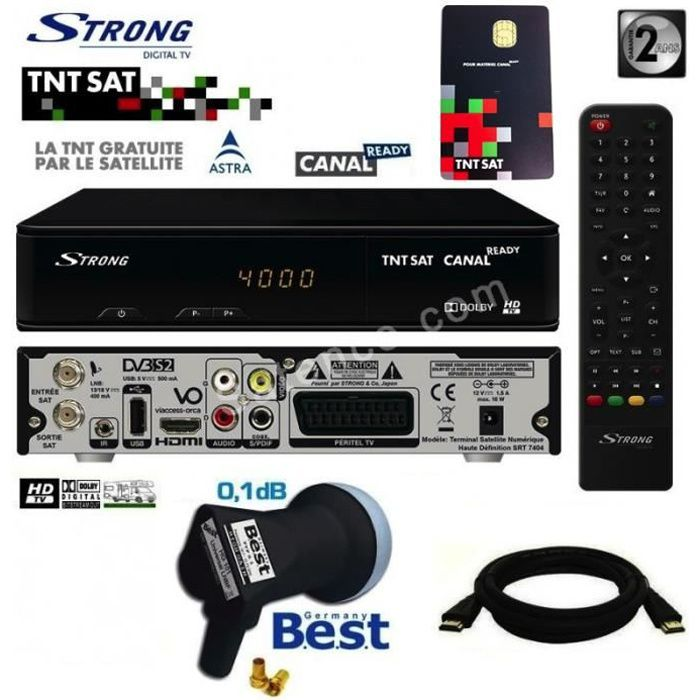 Récepteur Strong SRT 7404 HD + Carte Viaccess TNTSAT + Câble HDMi 2M + LNB Best 0,1dB