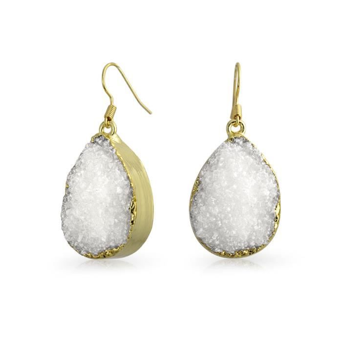 Bling Jewelry plaqué Or blanc Agate Druzy Teardrop Boucles doreille