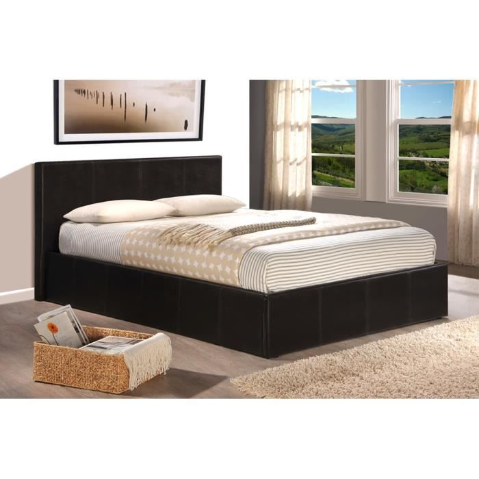 lit coffre chocolat avec sommier mark achat vente lit. Black Bedroom Furniture Sets. Home Design Ideas