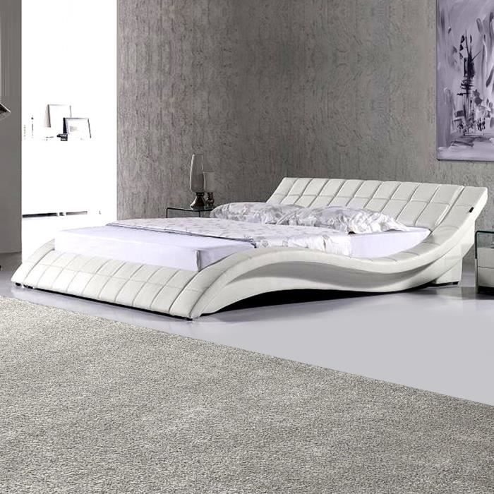 Lit design valentino 140cm en blanc mod le confortable for Lit design complet