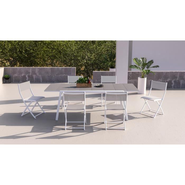 Table de jardin aluminium blanc extensible