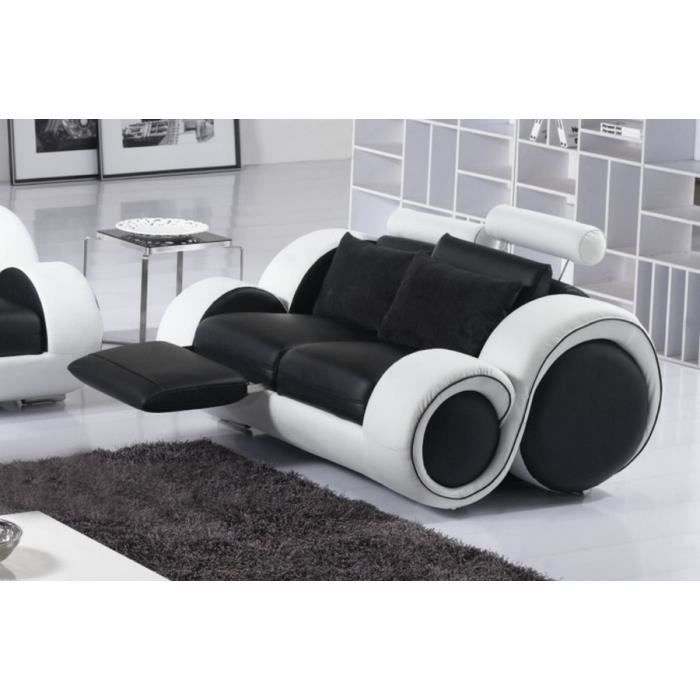 canap 2 places en 100 cuir luxe noir et blanc designa achat vente canap sofa divan. Black Bedroom Furniture Sets. Home Design Ideas