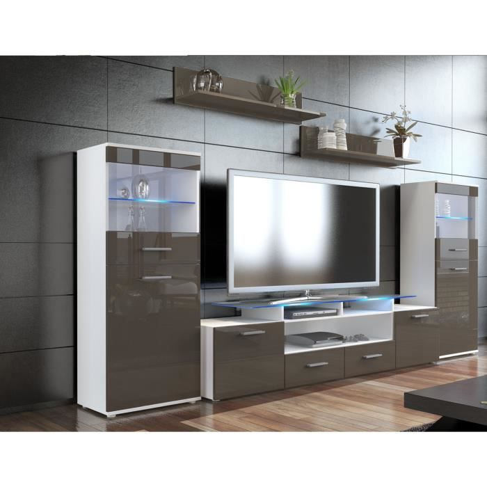combinaison murale tv vitrine tag re choco achat. Black Bedroom Furniture Sets. Home Design Ideas