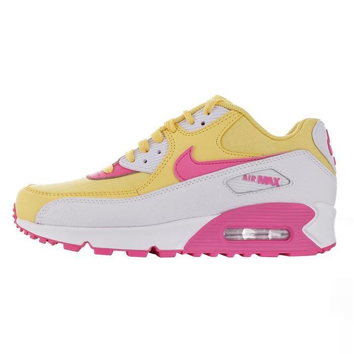 Baskets Nike Air Max 90 Femme Jaune Jaune - Cdiscount Chaussures