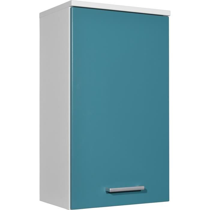 Armoire suspendu avec porte et tablette coloris blanc for Porte tablette