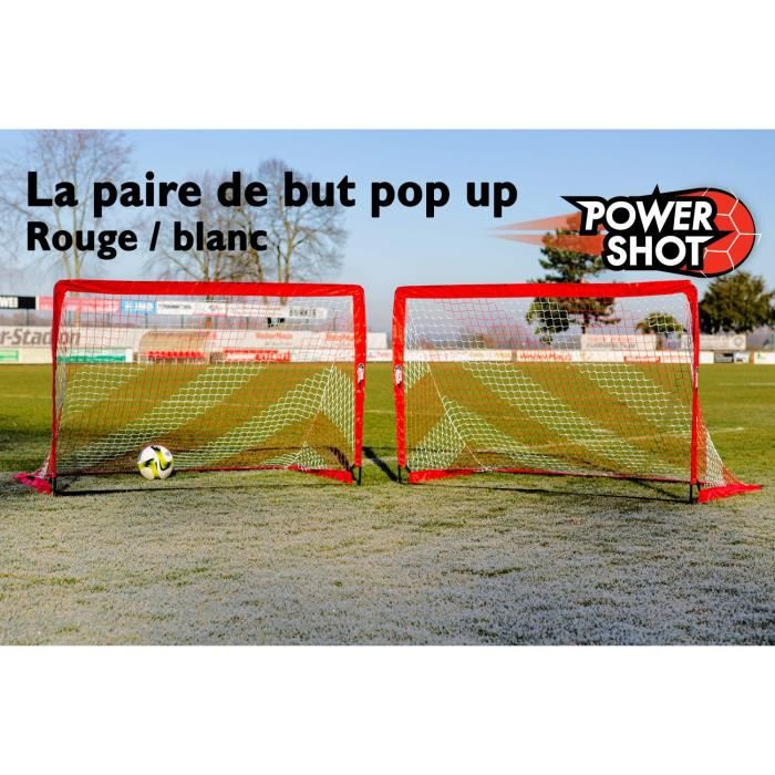 MINI-CAGE DE FOOTBALL Paire de but POP UP 1,2x0,9m rouge et blanc