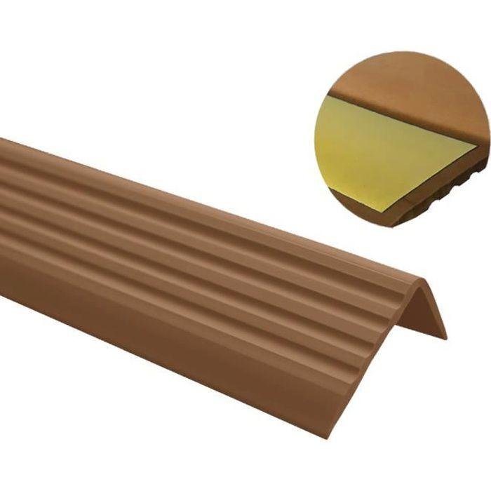 bande de bordure descalier-protection Brun 200cm Nez de marche profil d/'angle PVC autoadh/ésif 41x25mm antid/érapant
