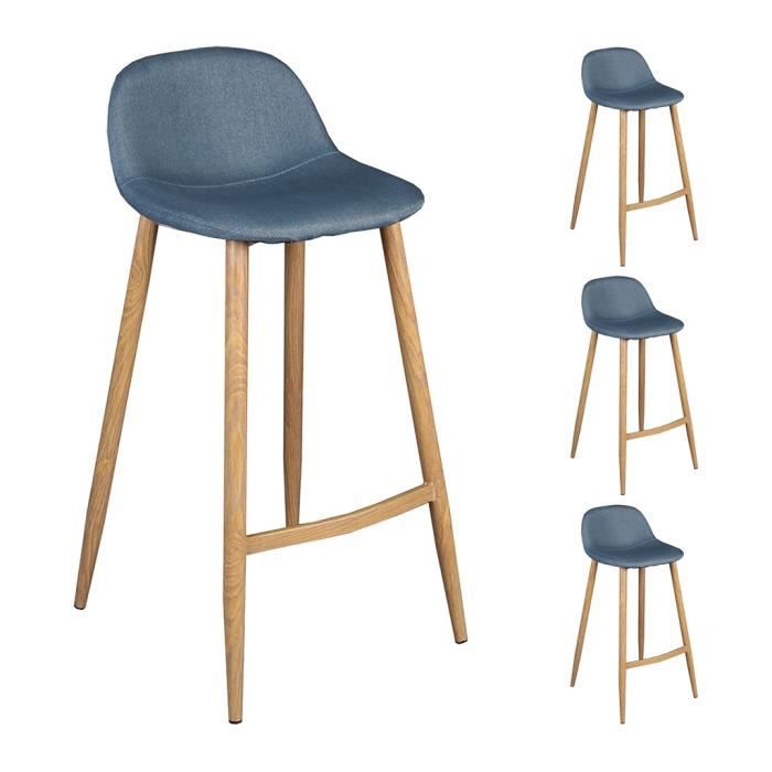 lot de 4 tabourets bar bleu gris 44x48xh91cm avec pieds. Black Bedroom Furniture Sets. Home Design Ideas