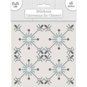 STICKERS 6 stickers à carreaux de ciment 15 x 15 cm