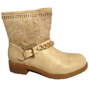 BOTTINES CUIR RABAT DENTELLE STRASS