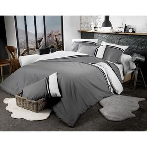 housse de couette gris blanc achat vente pas cher. Black Bedroom Furniture Sets. Home Design Ideas