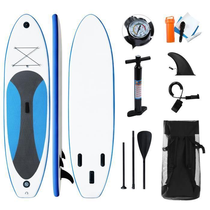 Stand up paddle gonflable Planche de surf -300 x 76 x 10cm portable Ensemble de planches SUP gonflables