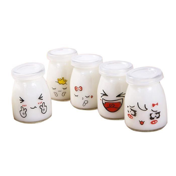 5pcs 150ml joli visage pudding bouteille verre contenant du yaourt résistant à la chaleur tasse de lait Jelly Jar (motif aléatoire