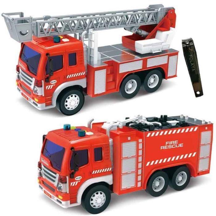 Jouets Camion de Pompiers avec Echelle pour Enfants 3 Ans Voiture Véhicule de Secours Firetruck Cadeau (2 Pompier)