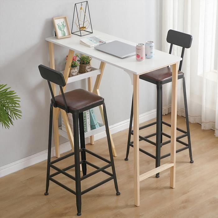 NUO Table Mange-Debout comptoir avec Plateau peint lisse Scandinave avec 2 étagères de Rangement (Blanc)