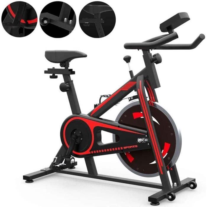 Vélo d'appartement Spinning Bike Fitness Ultra Silencieux Indoor Fitness Rouge et Noir