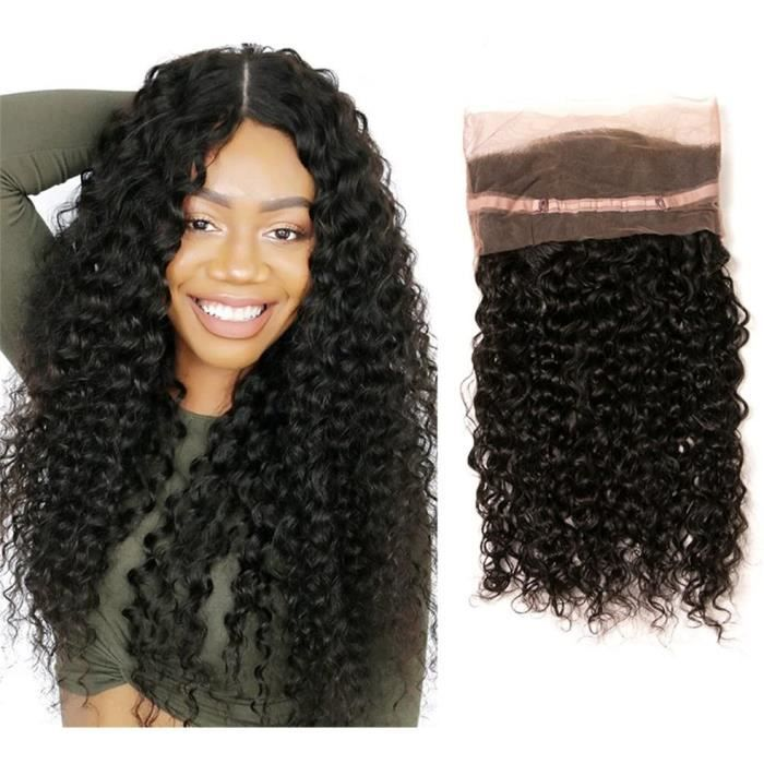 Lace Frontal 360 Closure Bresilliene Meches Curly Deep Wave Pre Pluck with Baby Hair Natural Human Extension (18(360))