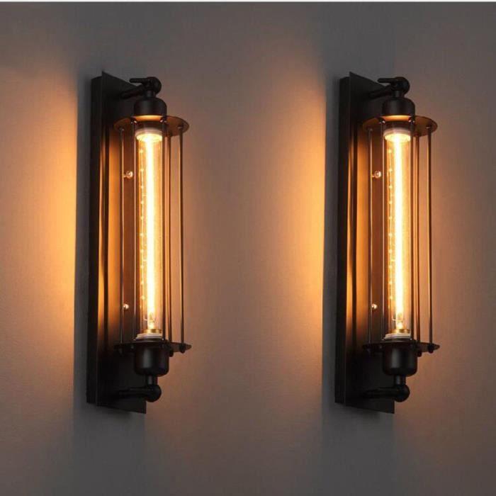 Applique Murale Vintage Industrielle en Métal Noir Lampe Applique Murale Edison Flute Wall