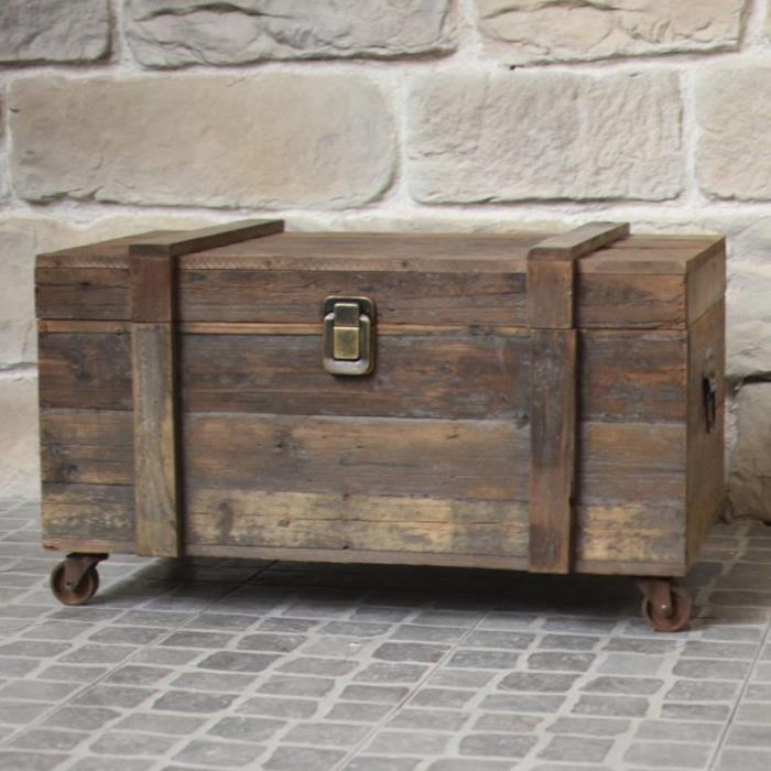 Style Ancien Coffre à Roulettes Malle en Bois de Rangement 80 cm x 49 cm x 48 cm - ement-BIS