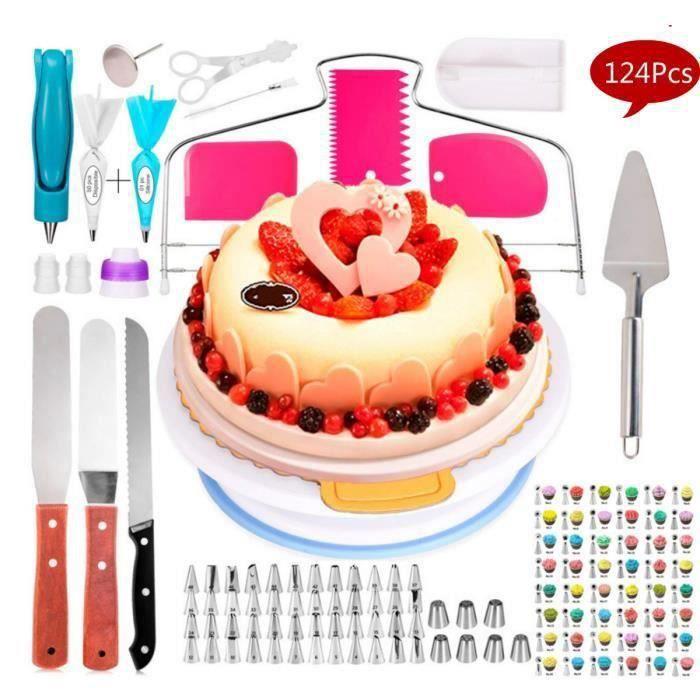 Plateau Tournant De Gâteau, Douille Patisserie Kit Professionnel, Moule De Décoration De Gâteau, Outil De Baking -124Pcs-Set
