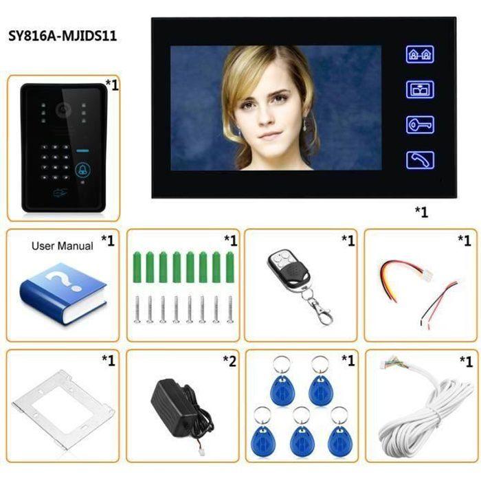 Touche tactile 7 - Lcd RFID Mot de passe Vidéo portier digicode Interphone visiophone Caméra IR 1000 TV Line Système de contrôle