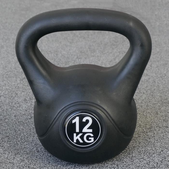 Kettlebell pour l'intérieur et l'extérieur - Plastique - Noir - 12 kg